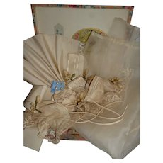 Collection French organza, ribbons, lace , wax bouquets : antique doll wedding costume projects