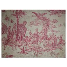 Rare fragment 18th C. quilted toile fabric : historic scene Treaty of Alliance 1778 : Jean Baptiste Huet