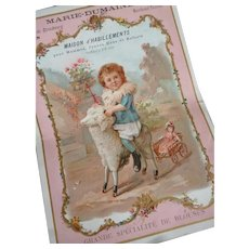 Charming large size antique French trade card : child sheep antique doll : doll display