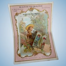 Large French trade card & small box : children & dog motifs : Jumeau Bebe doll display