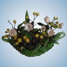 Elegant old miniature glass jardiniere filled with Lily of the valley flowers : 1 5/8th inches high