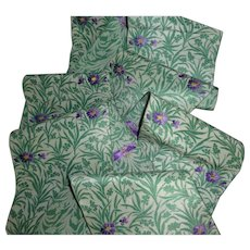 Delicious French silk taffeta ribbon : convent find : floral foliage motifs : 109 inches