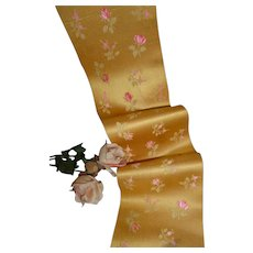 Shimmering old French yellow silk satin ribbon : pink roses : antique doll projects :  33 1/2 inches