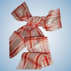 Morceau old French antique white & red check silk ribbon : doll projects : 61 inches