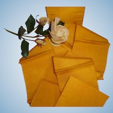 Superb French mustard yellow silk ribbon : picot edges : Jumeau Bebe costume projects : 2 yards