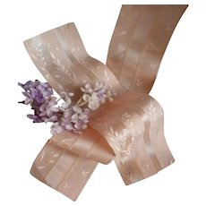 2  delicious old French pink/ peach silk ribbon samples : floral motifs : doll  projects