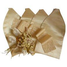 Re-working  pale lemon silk satin fabric panels & silk moire ribbon : fashion doll costume projects