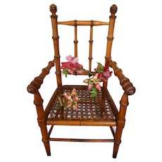Splendid French faux bamboo wooden hand caned armchair : 1880 -1900 : 14 1/2 inches high