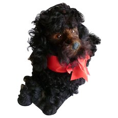 Superb antique black French poodle pyjama dog : curly coat : Jumeau Bebe doll companion : FREE SHIPPING