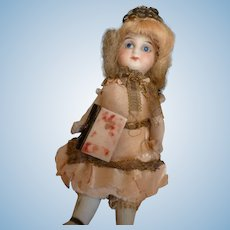 Miniature 19th century faux book : gold crown : mignonette doll accessory : 3/4 inch high