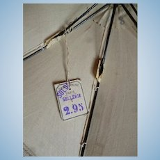 Pretty small French parasol : unused with Samaritaine Paris shop label : 10 1/2 inches long