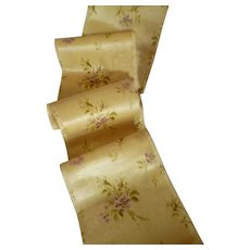 Beautiful old French printed silk satin ribbon with floral motifs : doll projects : sold by the yard