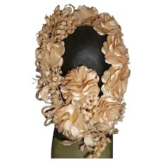 Delicious 19th C. French bride's wedding crown : plump silk roses : glass droplets : lily of the valley