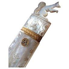 Rare figural Palais Royal French carved MOP needle case : squirrel motif : Georgian era