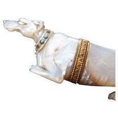 Rare figural Palais Royal MOP greyhound dog with jeweled collar needle case : Georgian era