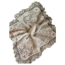 Ethereal 19th C. French bride's hand embroidered wedding handkerchief : hanky : lace