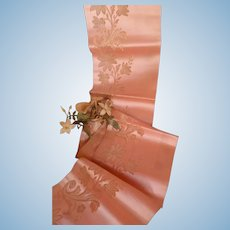 Delicious old French pink silk ribbon : floral motifs : antique doll projects : 47 inches