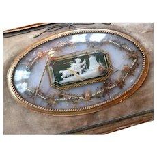 Rare antique French pocketbook : wallet : glass medallion cherub goat motif : Georgian era