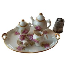 Charming old French miniature Limoges porcelain tea / coffee set : floral motifs  : fashion doll accessory