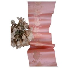 Charming pink and white silk satin damask ribbon : floral motifs : 43 inches : antique doll projects