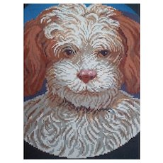 Charming  mid 19th century  original Berlin woolwork pattern chart : spaniel dog