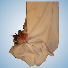 Superb old French Lyon ivory / cream natural silk fabric , circa 1930's : unused still on winder : antique doll clothing