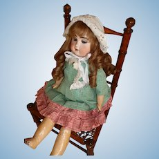 Splendid French faux bamboo wooden hand caned doll's chair : 1880 -1900 : 16 3/4 inches high : Jumeau display