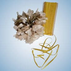 Card old French unused narrow sunny yellow silk Faveur ribbon : 3/16th inch wide : antique doll projects : 40 yards ???