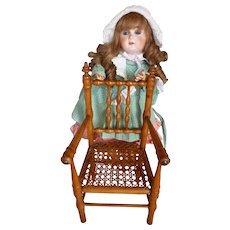 Charming antique French hand caned small wooden doll's armchair : circa 1880 - 1900 : 12 inches high