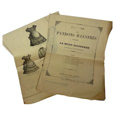 2 authentic 19th century French yellow paper sewing patterns dated  1870 : La Mode illustree : young girls clothing