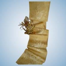 Morceau antique French lemon silk damask ribbon floral bouquet motifs  ; unused : antique doll projects : 61 inches