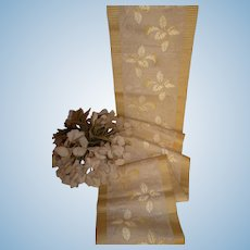 Exquisite 19th century French ivory & lemon silk damask ribbon : foliage motifs : doll projects :  58 inches long