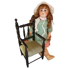 Charming 19th C. French small ebonized doll's wooden armchair : 10 inches high : antique doll display