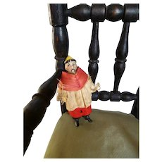 Unusual Chinese young man all bisque mignonette : original costume : 2 7/8th inches high