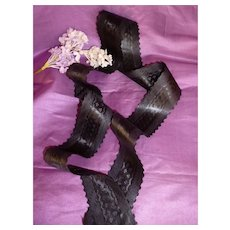 Superb old French scallop edge black silk ribbon : unused : antique doll projects : 42 inches long
