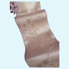 Pretty French ivory silk satin ribbon with tulip floral motifs : antique doll projects : 27 inches