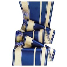 Delicious old French blue and ivory striped silk satin moire ribbon : antique doll projects : 56 inches long