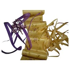 Collection old French silk ribbons : yellow  mauve / lilac tones  : bouquet : antique doll projects