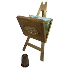 Charming 19th C. English W Avery & Sons miniature Artist easel needle case : fashion doll accessory : 4 1/2 inches high