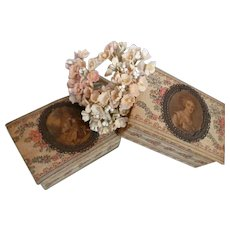Rare miniature French fabric covered merchandise boudoir boxes : floral motifs : medallions : fashion doll display
