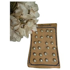 6 delicious old French round pearl buttons  : original shop card : Jumeau Bebe doll projects : 5/16th inch