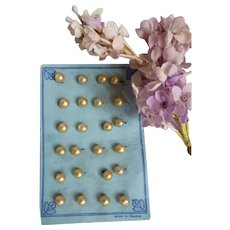 Set of 6 old French small pearl buttons : gold lustre : 1/4 inch diameter : Jumeau doll's costume projects
