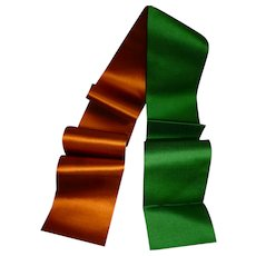 Superb old French silk ribbon sample : green and apricot :unused : antique doll projects : 42 inches long