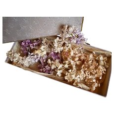 Old lilac box full of artificial flowers and bouquets : antique Jumeau Bebe doll projects