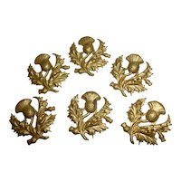 Batch of 6 small 19th C. French pressed metal thistle motifs : projects : 1 inch high : antique doll projects