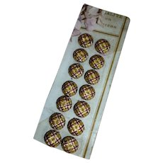Set of 6 French delicious silk buttons : unused still on original card : circa 1900 : sewing projects