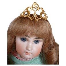 Bejewelled miniature gilt metal doll's tiara crown: quality piece