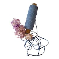 6 yards old French blue cotton chenille embroidery thread : Jumeau doll clothing bonnet projects