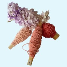 9 yards delicious old French chenille embroidery threads : pink tones :  antique doll projects