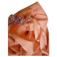 Beautiful soft & flowing Lyon salmon pink  silk fabric : unused :  antique doll projects : 36 inches long